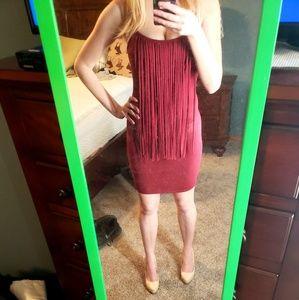 Dresses & Skirts - Maroon Bodycon Fringe Dress!